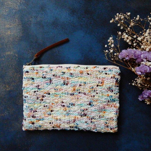 【受注制作】手織りのポーチ 「モネの庭・・・」の画像1枚目