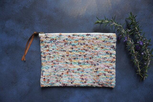 手織りのポーチ 「モネの庭・・・」の画像1枚目