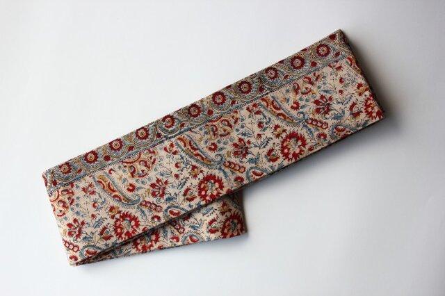 アジア布 型染め木綿の半幅帯の画像1枚目