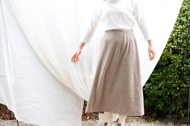 Organic Cotton ヤクベロア ロングギャザースカートの画像1枚目