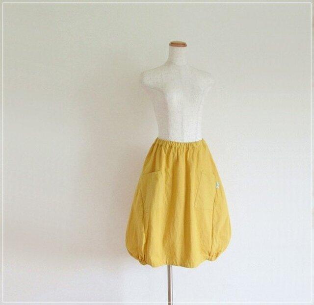 yellow* コットンリネン バルーンスカート+リバティの画像1枚目