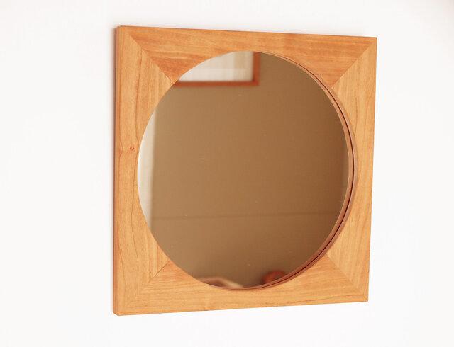 木製 鏡「四角に丸」桜材8 ミラーの画像1枚目