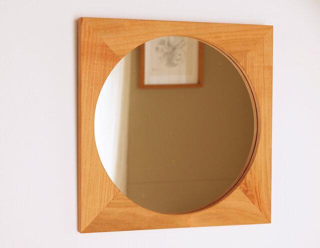 木製 鏡「四角に丸」桜材9 ミラーの画像1枚目