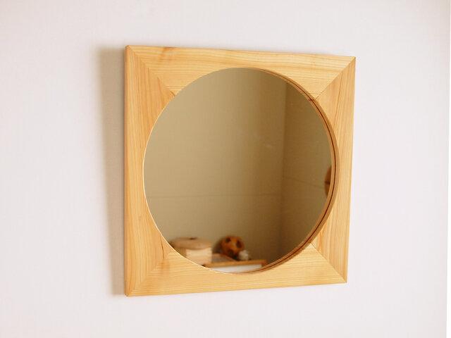木製 鏡「四角に丸」ヒノキ材6 ミラーの画像1枚目