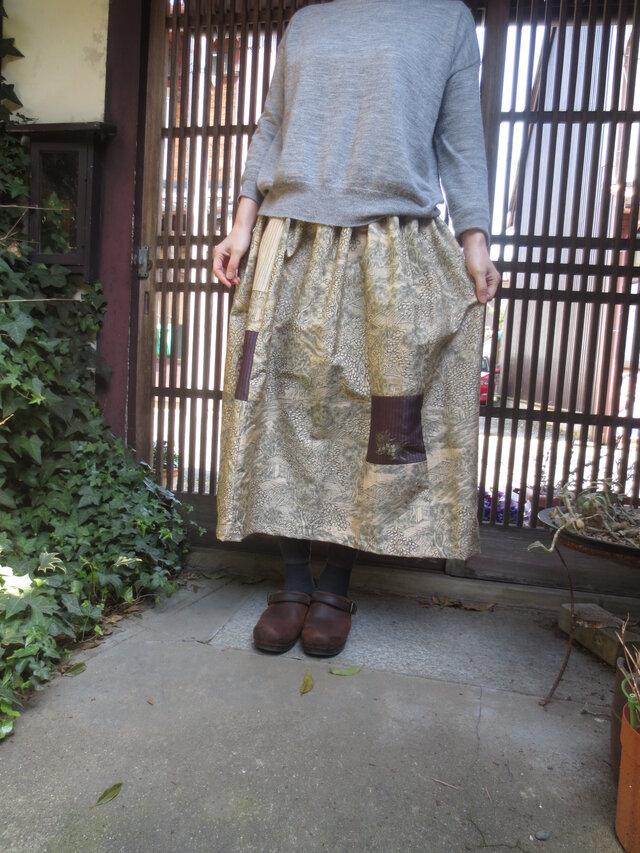 着物リメイク☆墨絵のような美しい染め紬の春色スカート80㎝丈の画像1枚目