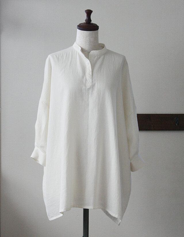 【sale】ビッグシルエットのシャツチュニック クリーム Wガーゼ(M)の画像1枚目