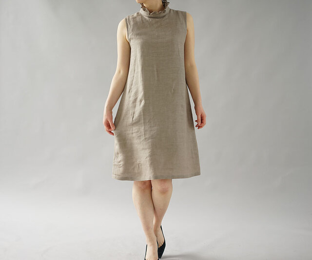 【wafu】薄地 雅亜麻 リネン フリル ワンピース ペチワンピース インナー ドレス 肌着 / 榛色 p009a-hbm1の画像1枚目