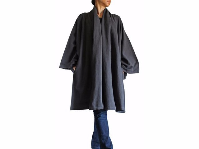 ジョムトン手織り綿着物袖羽織コート 墨黒(JFS-097-01)の画像1枚目