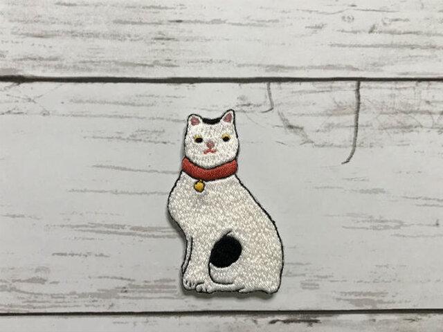 手刺繍浮世絵ブローチ*歌川国芳「猫飼好五十三疋・鞠子」の猫の画像1枚目
