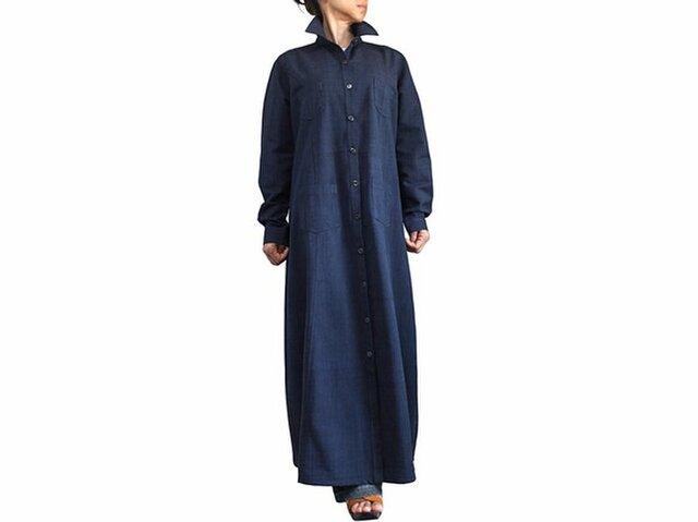ジョムトン手織り綿ロングシャツコート インディゴ紺(JFS-146-03)の画像1枚目