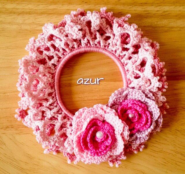 手編みシュシュ ピンクの画像1枚目