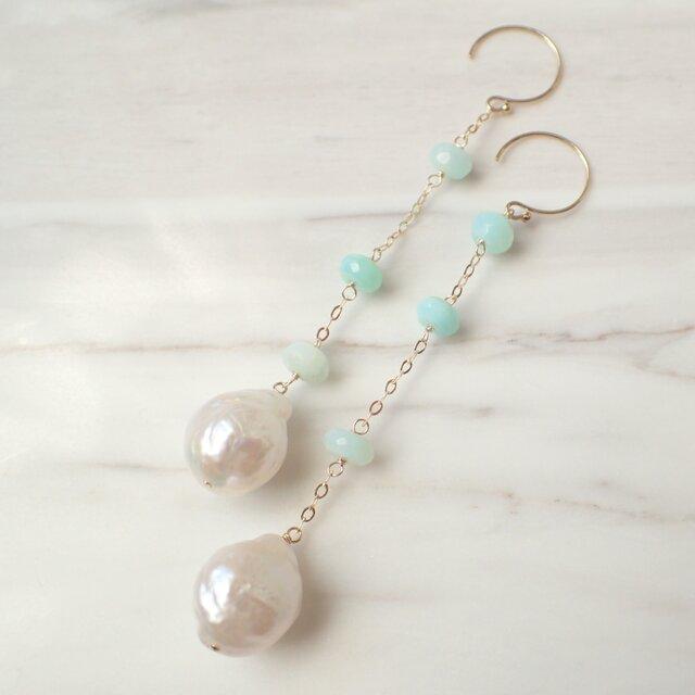 K14GF water pearl & blue opal long pierceの画像1枚目