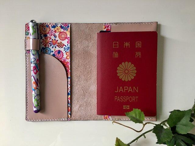 パスポートケース☆パールピンク×花柄♫の画像1枚目