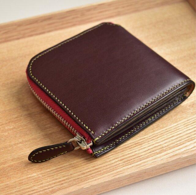 桜餅の色   コンパクトなお財布 イタリアンレザー の画像1枚目