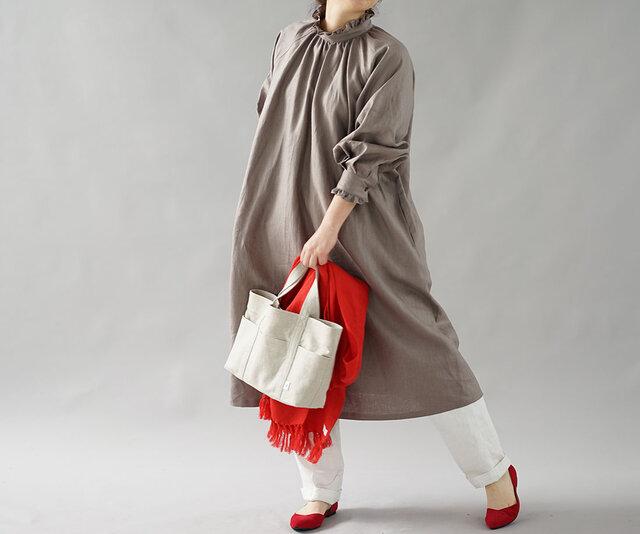 【wafu】中厚 リネン ワンピース ミモレ丈 フレア スタンドカラー フリル ドレス / ヴァニーユ a088a-vay2の画像1枚目