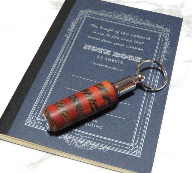 寄木のキーホルダー型ボールペン パドックとリオグランデパリサンダーの画像1枚目