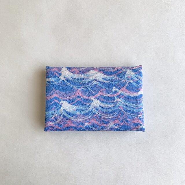 絹手染カード入れ(波・ピンク青/ピンク系)の画像1枚目