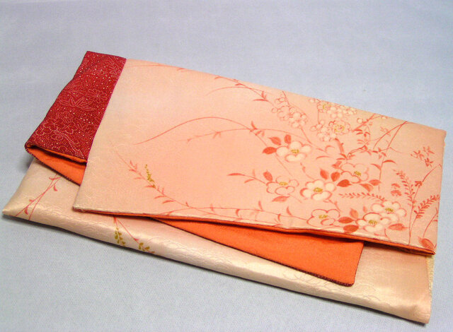 素襖袋  弐)化繊と正絹の着物から作りました オレンジの内袋の画像1枚目