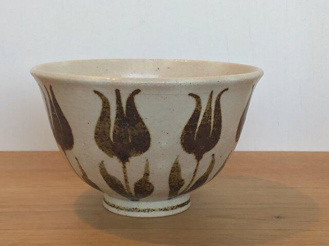 茶漬け碗 鉄絵並びチューリップの画像1枚目