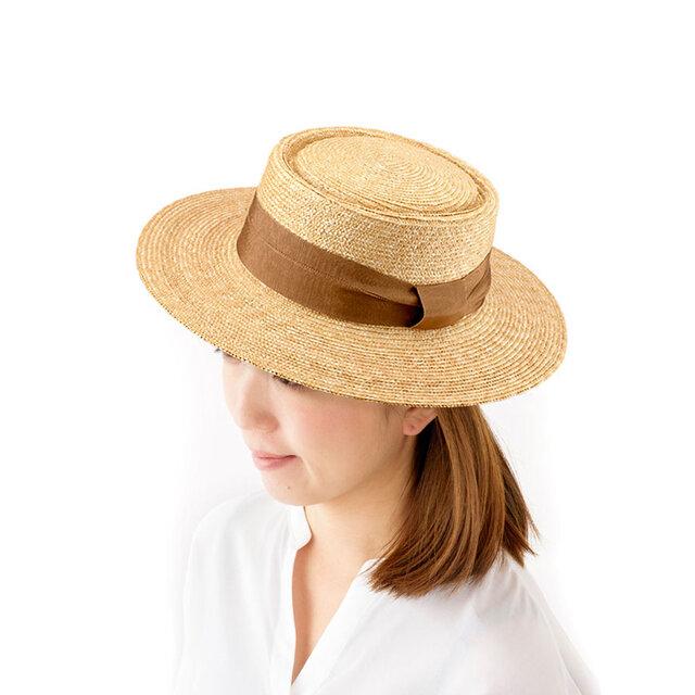 Alma アルマ ポークパイ型 つば広カンカン帽 ベージュ 57.5cm [UK-H074-BE]の画像1枚目