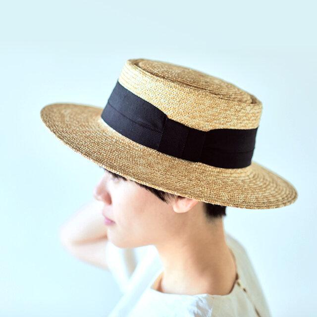 Alma アルマ ポークパイ型 つば広カンカン帽 ブラック 57.5cm [UK-H074-BK]の画像1枚目