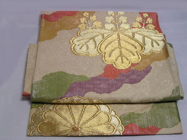 正絹袋帯 二重太鼓 二部式帯にリメイクしました お試し価格の画像1枚目