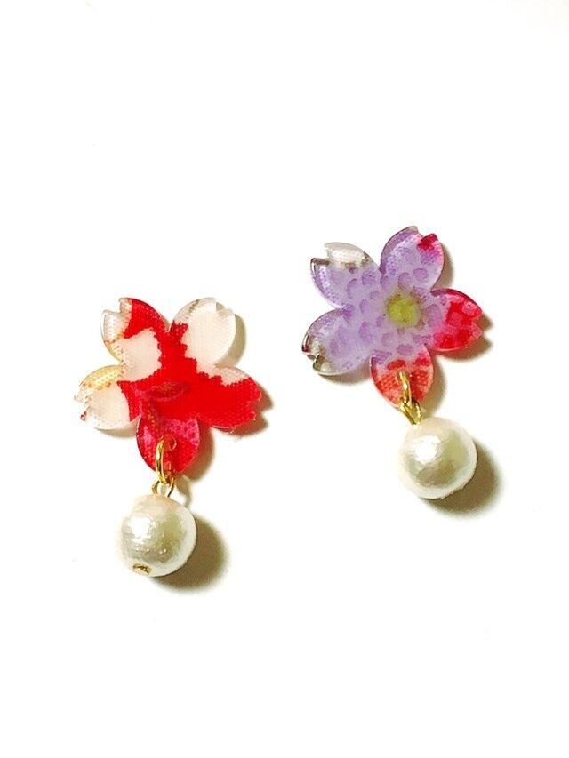 【和】和柄ちりめんの桜ピアス / イヤリングの画像1枚目