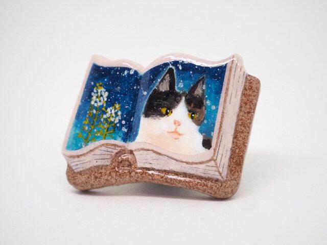 絵本みたいな陶土のブローチ《ぺんぺん猫》の画像1枚目