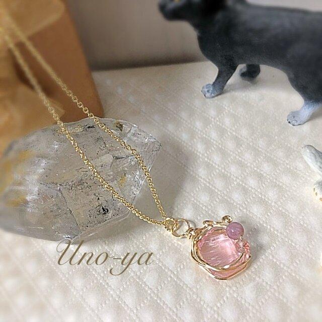 14kgf/アンダラクリスタル (ピンク)のプチネックレスの画像1枚目