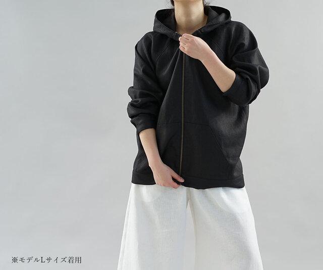 【wafu】中厚 リネン パーカー 裏地付き ジップ フード 男女兼用 ラグランスリーブ / ブラック h046a-bck2の画像1枚目
