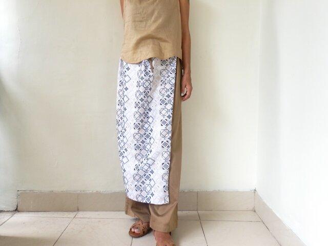 総刺繍|ラップスカート付きパンツ,ベージュの画像1枚目