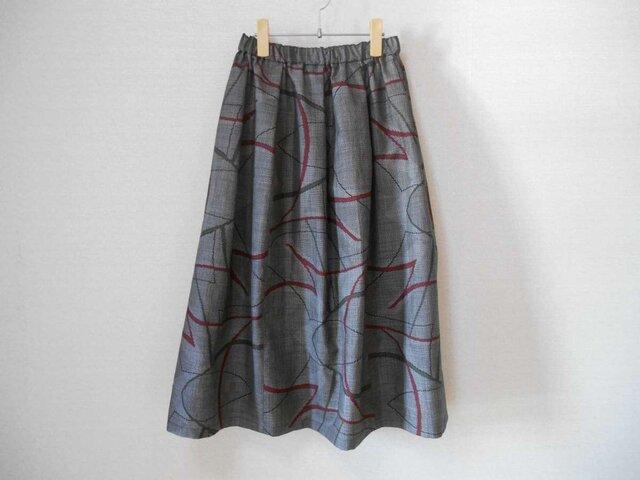 再販★大島紬のリメイクスカート★裏地付の画像1枚目