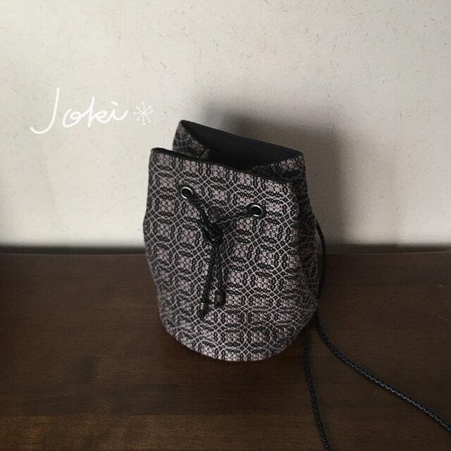 再販  巾着 bag[手織りオーバーショット織 巾着バッグ]ブラック×グレーの画像1枚目
