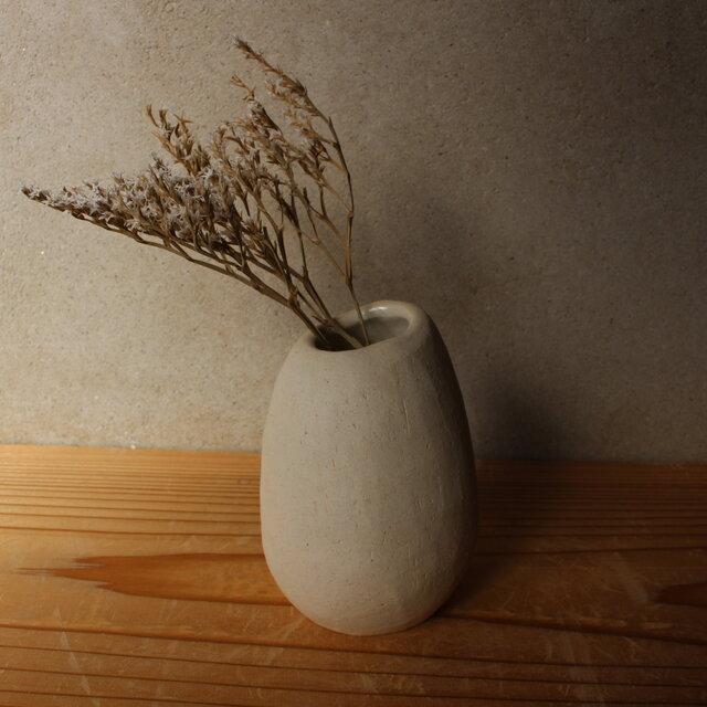 花器 花瓶 揺ら (地シリーズ)白 陶土  顔料赤 いちの画像1枚目