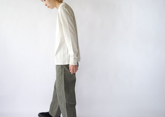 combed yarn enbroidery mark tshirt/oatmealの画像1枚目
