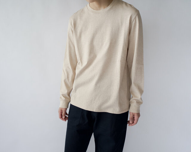 combed yarn enbroidery mark tshirt/heather beigの画像1枚目