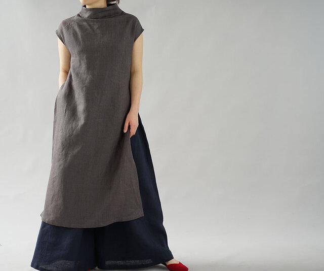 【wafu】中厚 リネンワンピース ヘリンボーン ボトルネック サイドスリット ドレス/ 黒橡 a043a-ktb2の画像1枚目