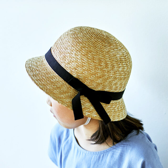 Gland グラン 麦わら帽子 クロッシェ 子供用 ブラック 52cm [UK-H010-GLBK52]の画像1枚目