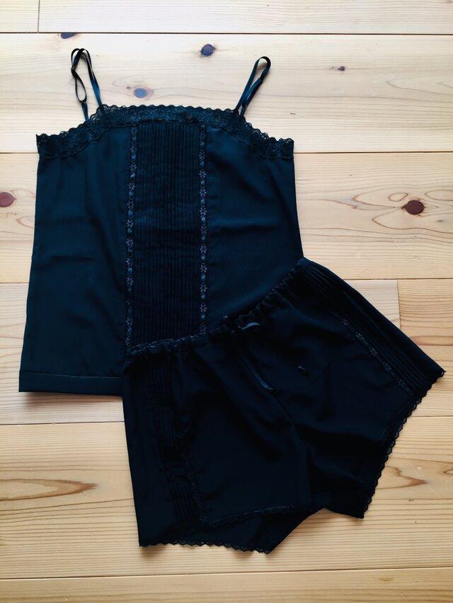リボンレースタックシルクキャミソール パンツ セット ブラックの画像1枚目