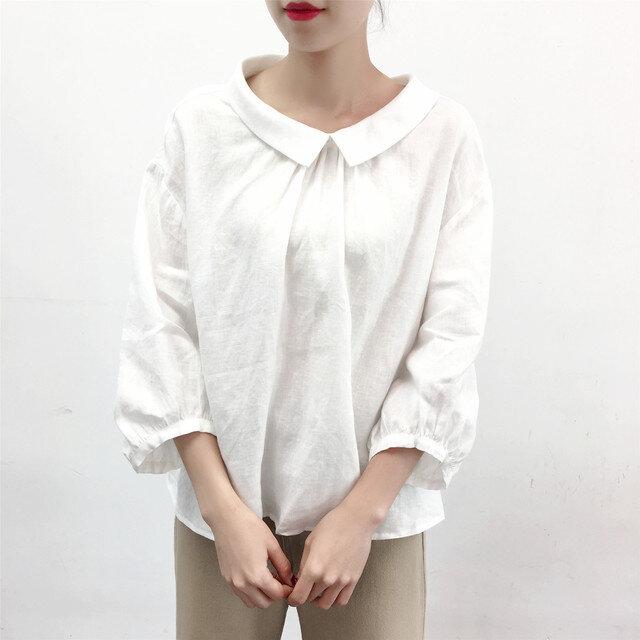 en-enリネン・襟付きふんわりお袖のプルオーバー・オフホワイトの画像1枚目