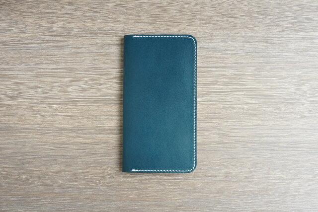 牛革 iPhone XS Max カバー  ヌメ革  レザーケース  手帳型  ネイビーカラーの画像1枚目