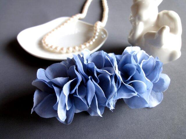 紫陽花のバレッタ■アンティークカラー■ブルーの画像1枚目