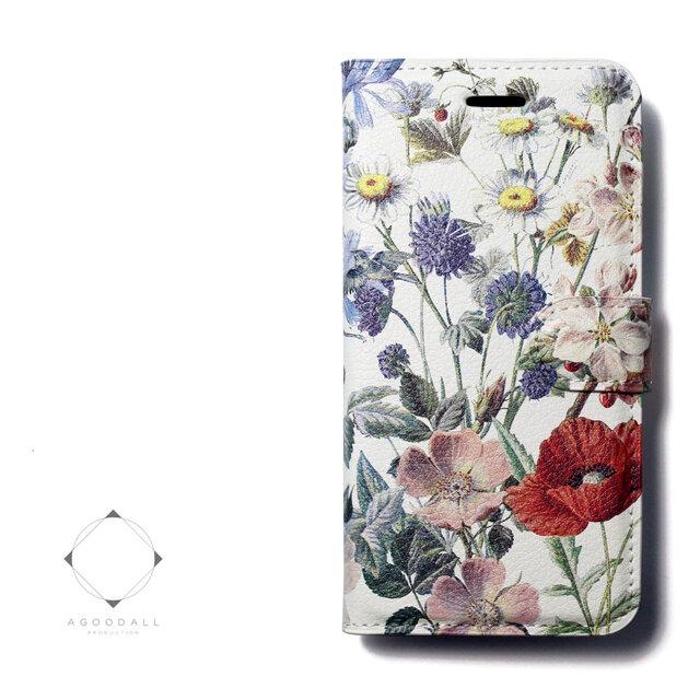 【両面デザイン】 iphoneケース 手帳型 レザーケース カバー(花柄×ブラック)ヴィンテージフラワー ボタニカルの画像1枚目