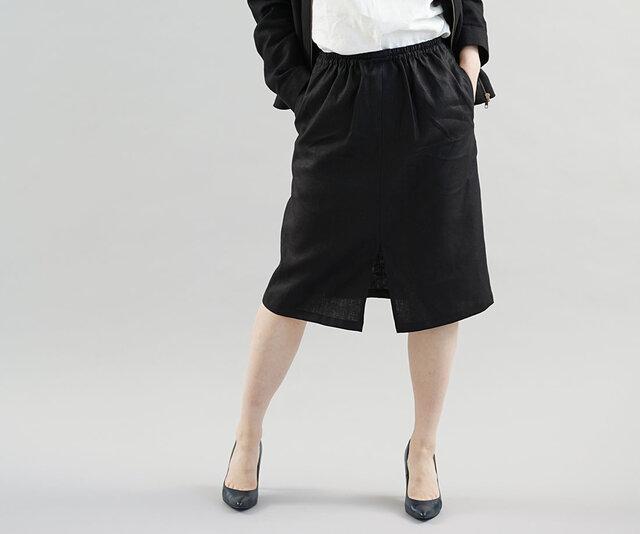 中厚 リネン スカート 前スリット 膝下丈 スカート ウエストゴム 紐 / ブラック s004c-bck2の画像1枚目