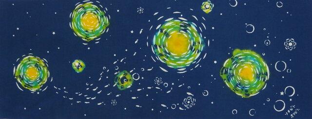 型染めてぬぐい「月と星と」(ネコなしバージョン)(綿100%・絞り染め生地に抜染)の画像1枚目