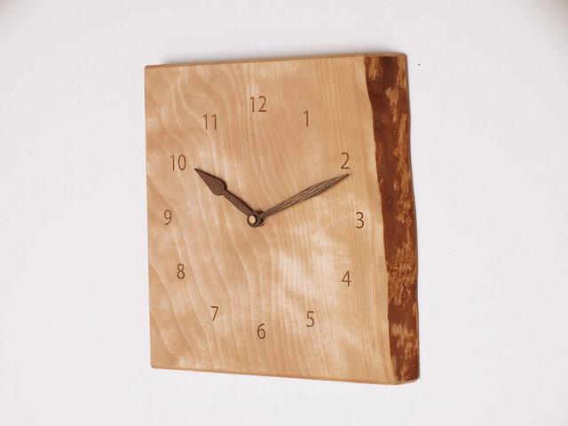 木製 掛け時計 カバ材1の画像1枚目