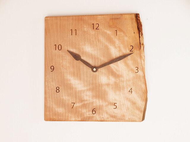 木製 掛け時計 カバ材2の画像1枚目