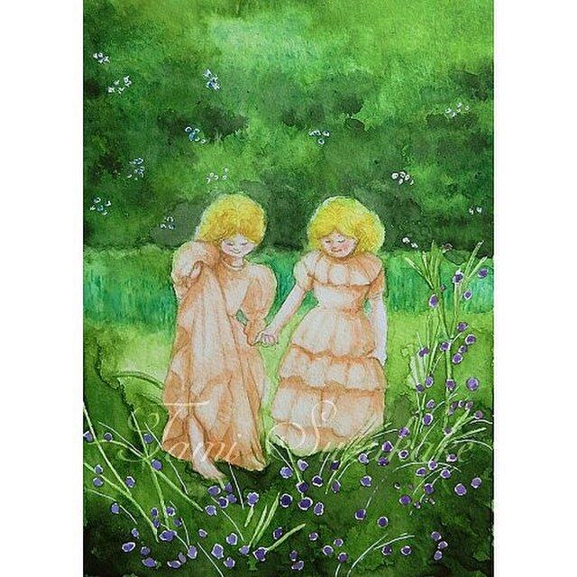 水彩画(原画)「緑園の少女」の画像1枚目