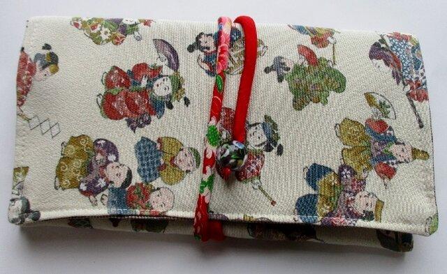 送料無料 縮緬の着物で作った和風財布・ポーチ 4155の画像1枚目