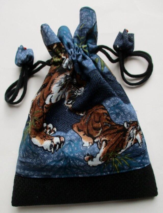 送料無料 虎の描かれた長襦袢で作った巾着袋 4156の画像1枚目
